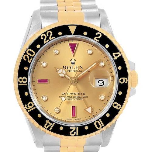 Photo of Rolex GMT Master II Yellow Gold Steel Serti Diamond Ruby Watch 16713 Box Papers