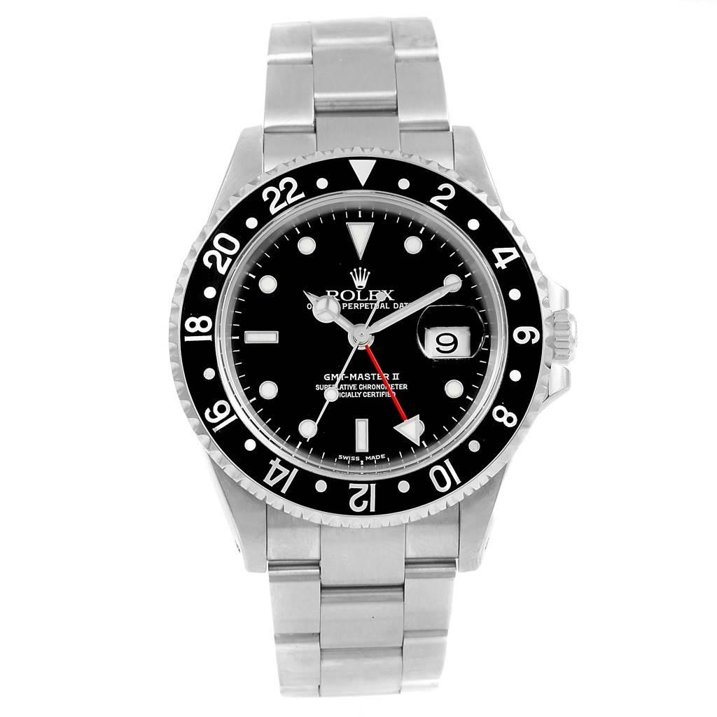 Rolex gmt master ii black bezel steel mens 40mm watch 16710 for Black bezel watches