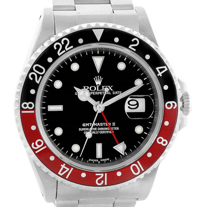 Rolex GMT Master II 40mm Black Red Coke Bezel Watch 16710 Box Papers SwissWatchExpo