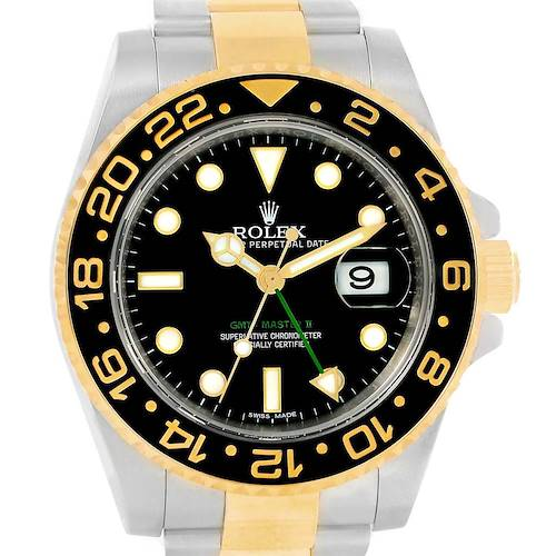 Photo of Rolex GMT Master II Yellow Gold Steel Black Dial Mens Watch 116713