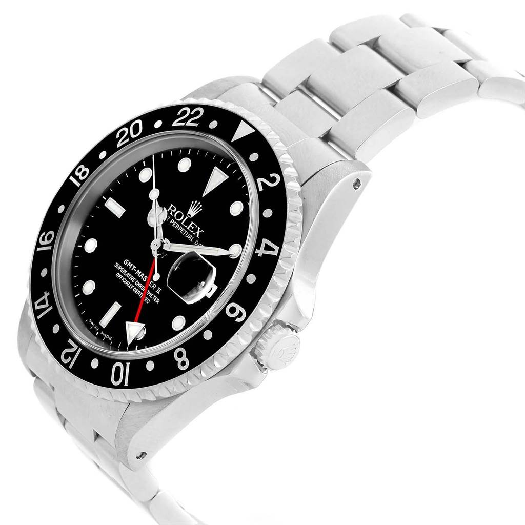 Rolex gmt master ii black bezel oyster bracelet mens 40mm watch 16710 for Men decagonal bezel bracelet