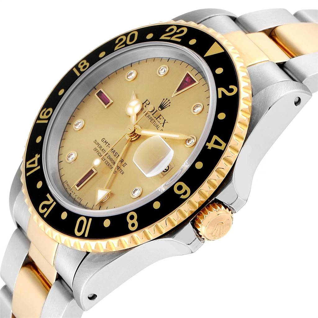 Rolex GMT Master II Mens 18k Yellow Gold Steel Serti Dial Watch 16713 SwissWatchExpo