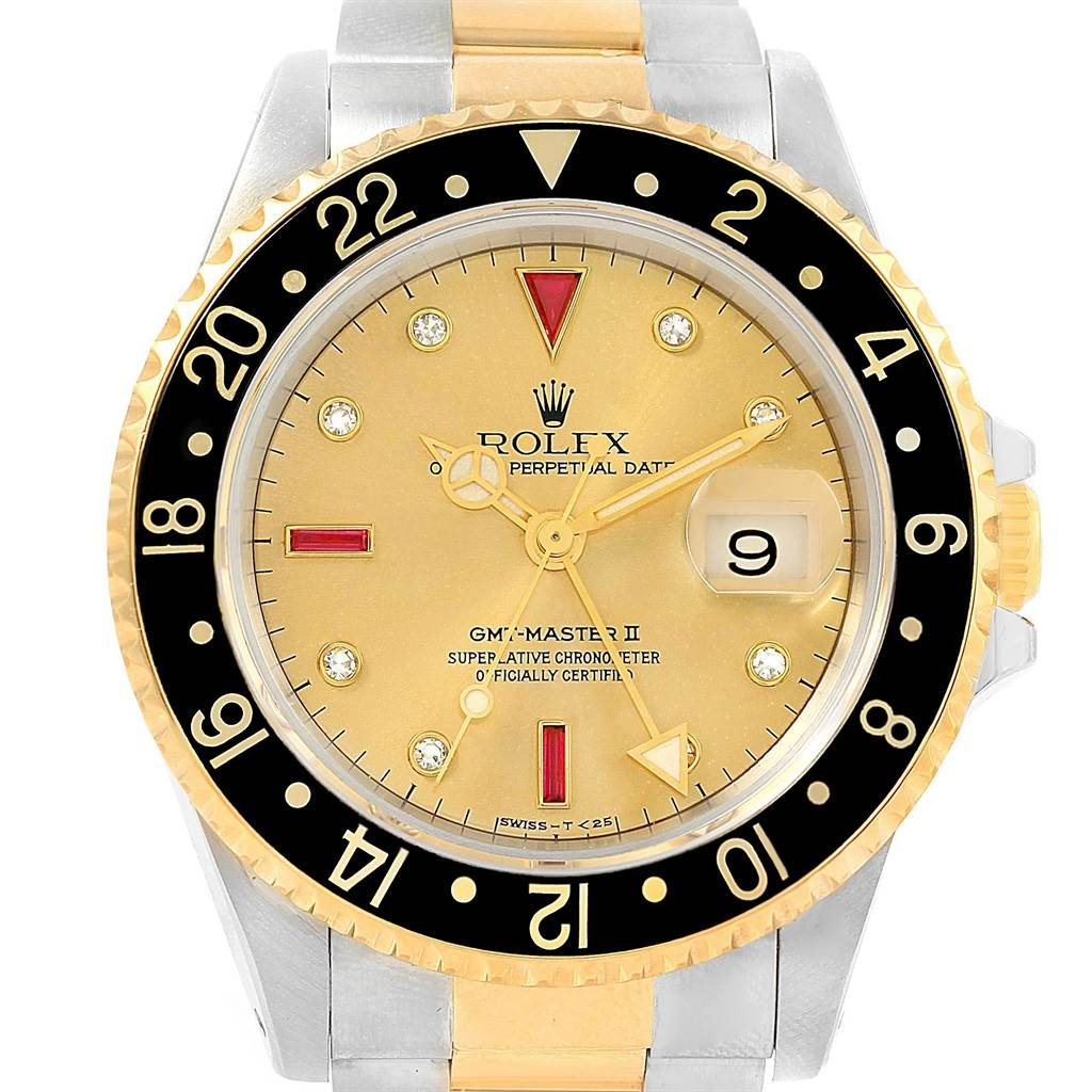 18525 Rolex GMT Master II Mens 18k Yellow Gold Steel Serti Dial Watch 16713 SwissWatchExpo
