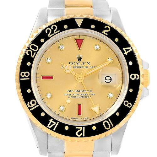Photo of Rolex GMT Master II Mens 18k Yellow Gold Steel Serti Dial Watch 16713