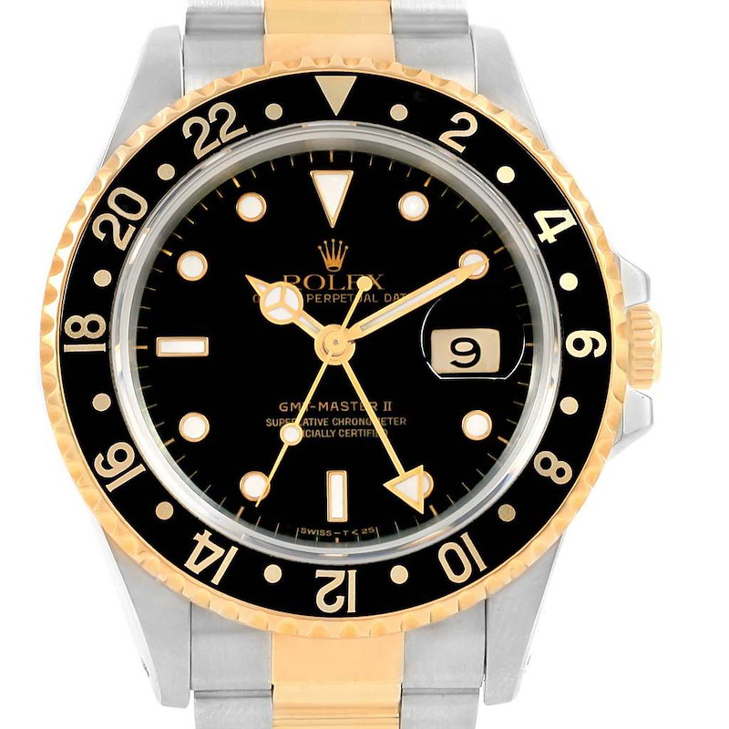 Rolex GMT Master II Yellow Gold Steel Black Dial Mens Watch 16713 SwissWatchExpo