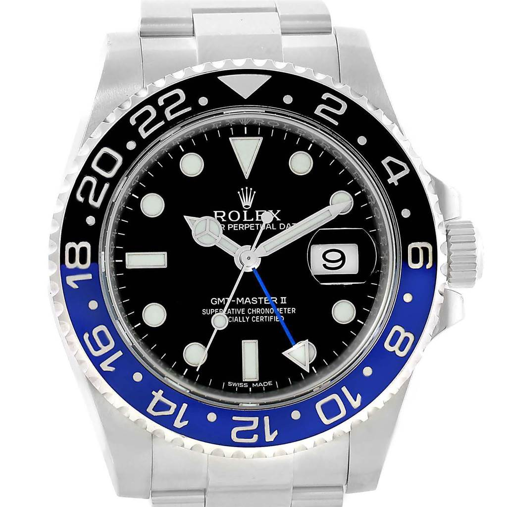 Rolex GMT Master II Batman Blue Black Bezel Mens Watch 116710