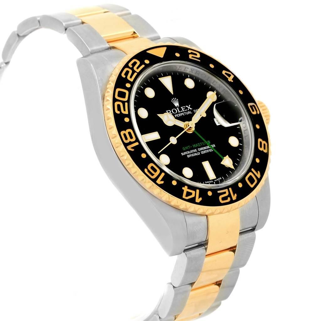 Rolex GMT Master II 40mm Yellow Gold Steel Black Dial Watch 116713 SwissWatchExpo