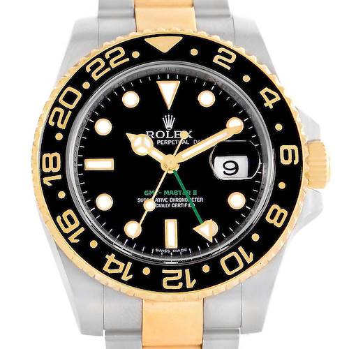 Photo of Rolex GMT Master II 40mm Yellow Gold Steel Black Dial Watch 116713
