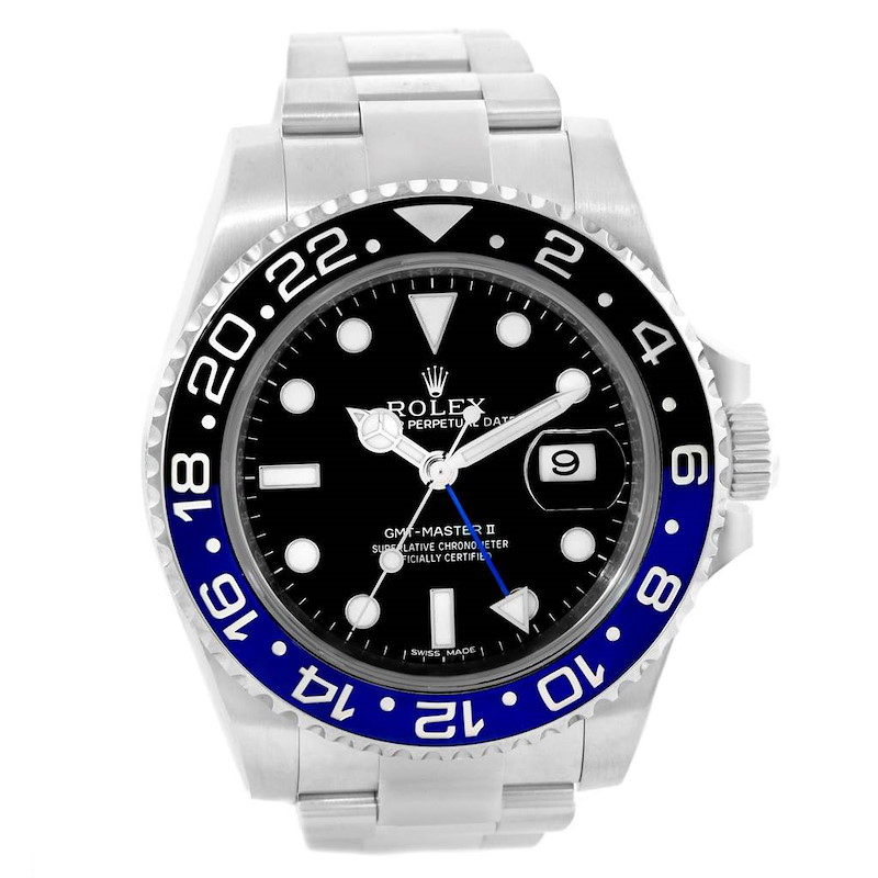 Rolex GMT Master II Batman Blue Black Bezel Mens Watch 116710 Box Card SwissWatchExpo