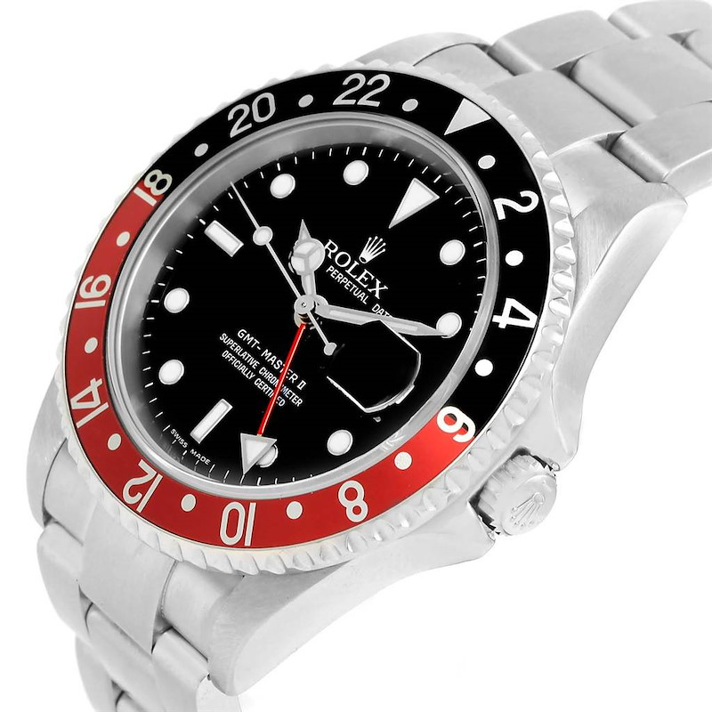Rolex GMT Master II 40mm Black Red Coke Bezel Mens Watch 16710 SwissWatchExpo