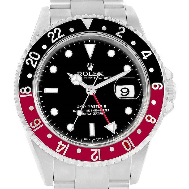 Rolex GMT Master II Red Black Coke Bezel Mens Watch 16710 Box Papers SwissWatchExpo