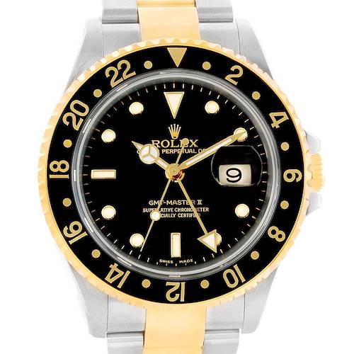 Photo of Rolex GMT Master II Yellow Gold Steel Black Dial Mens Watch 16713