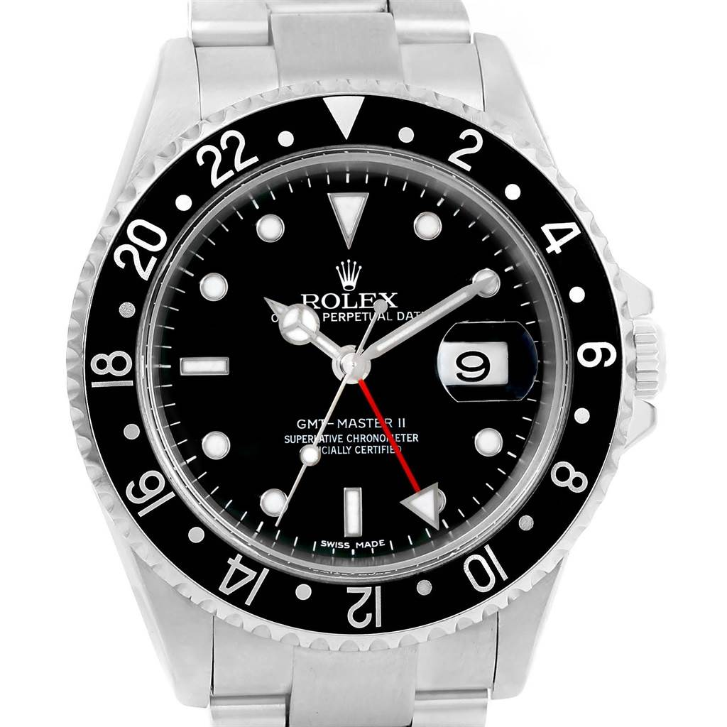 Rolex GMT Master II Error Dial Steel Mens 40mm Watch 16710 Box Papers SwissWatchExpo