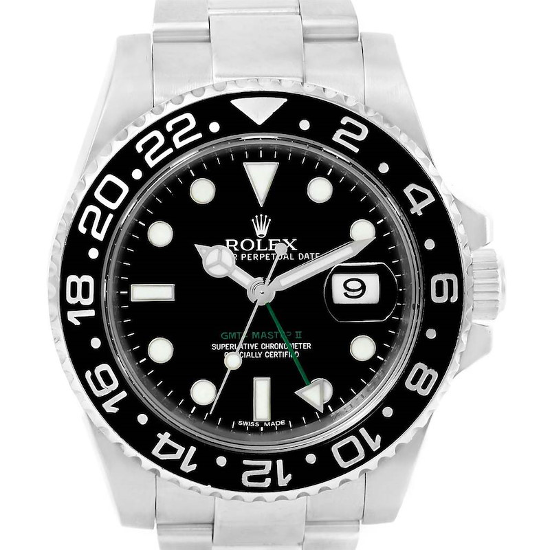 Rolex GMT Master II Black Dial Green Hand Steel Mens Watch 116710 SwissWatchExpo
