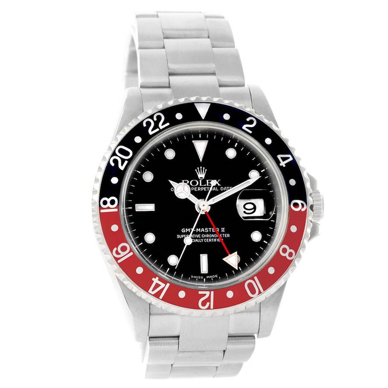 Rolex GMT Master II 40mm Black Red Coke Bezel Mens Watch 16710 SwissWatchExpo