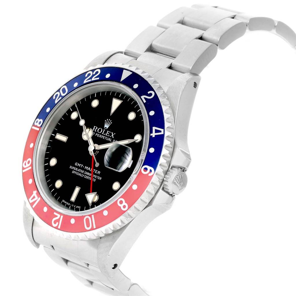 19198 Rolex GMT Master Blue Red Pepsi Bezel Steel Mens Watch 16700 SwissWatchExpo