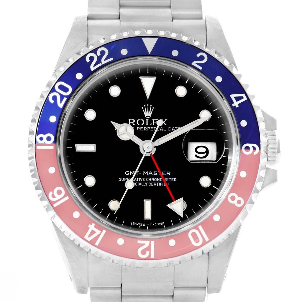 Rolex GMT Master Blue Red Pepsi Bezel Automatic Mens Watch 16700 SwissWatchExpo