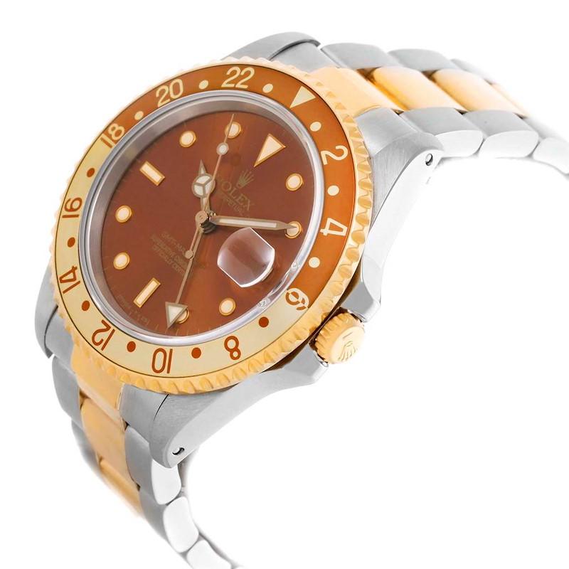 Rolex GMT Master II Rootbeer Yellow Gold Steel Mens Watch 16713 Box SwissWatchExpo