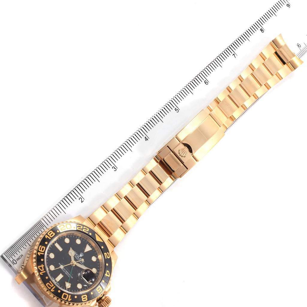 Rolex GMT Master II 18K Yellow Gold Black Dial Mens Watch 116718 SwissWatchExpo