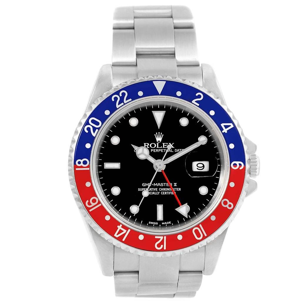19396 Rolex GMT Master II Blue Red Pepsi Bezel Steel Mens Watch 16710 SwissWatchExpo