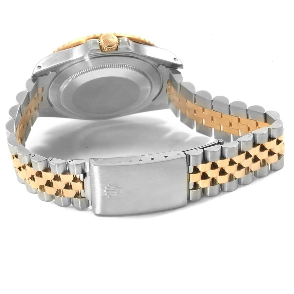 Rolex GMT Master II Mens Rootbeer Serti Yellow Gold Steel Watch 16713 SwissWatchExpo