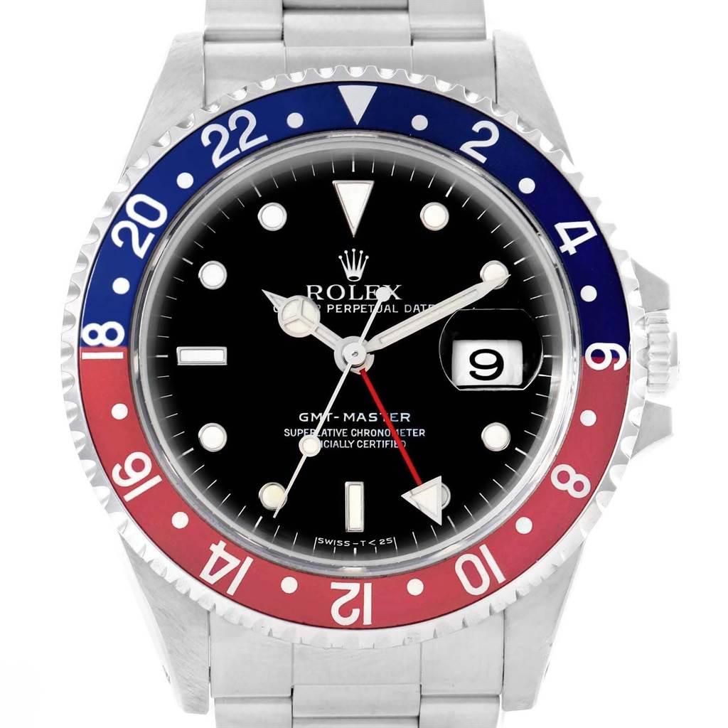19532 Rolex GMT Master Blue Red Pepsi Bezel Mens Watch 16700 Box Papers SwissWatchExpo