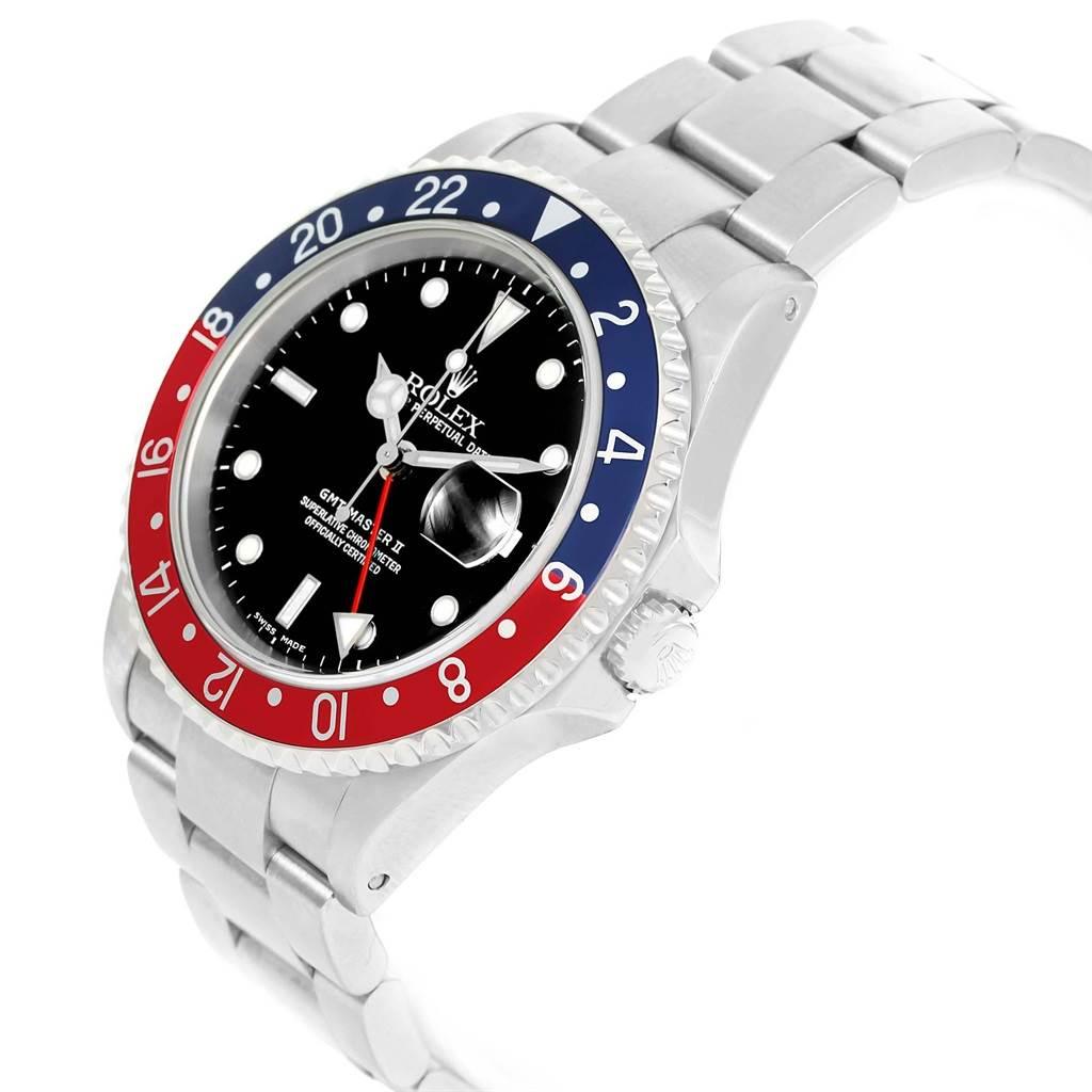 19487 Rolex GMT Master II Blue Red Pepsi Bezel Steel Mens Watch 16710 SwissWatchExpo