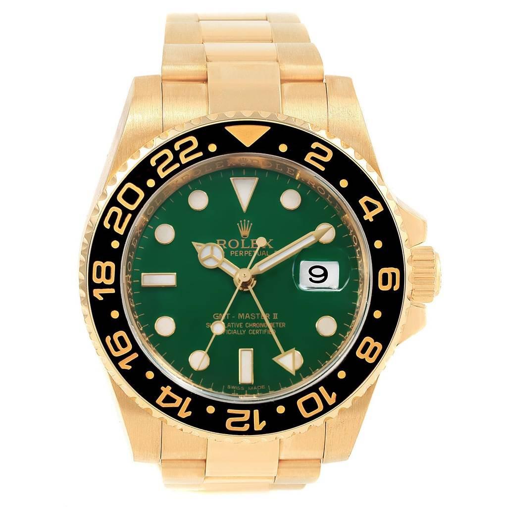 Rolex GMT Master II Yellow Gold Green Dial Mens Watch 116718 Unworn SwissWatchExpo