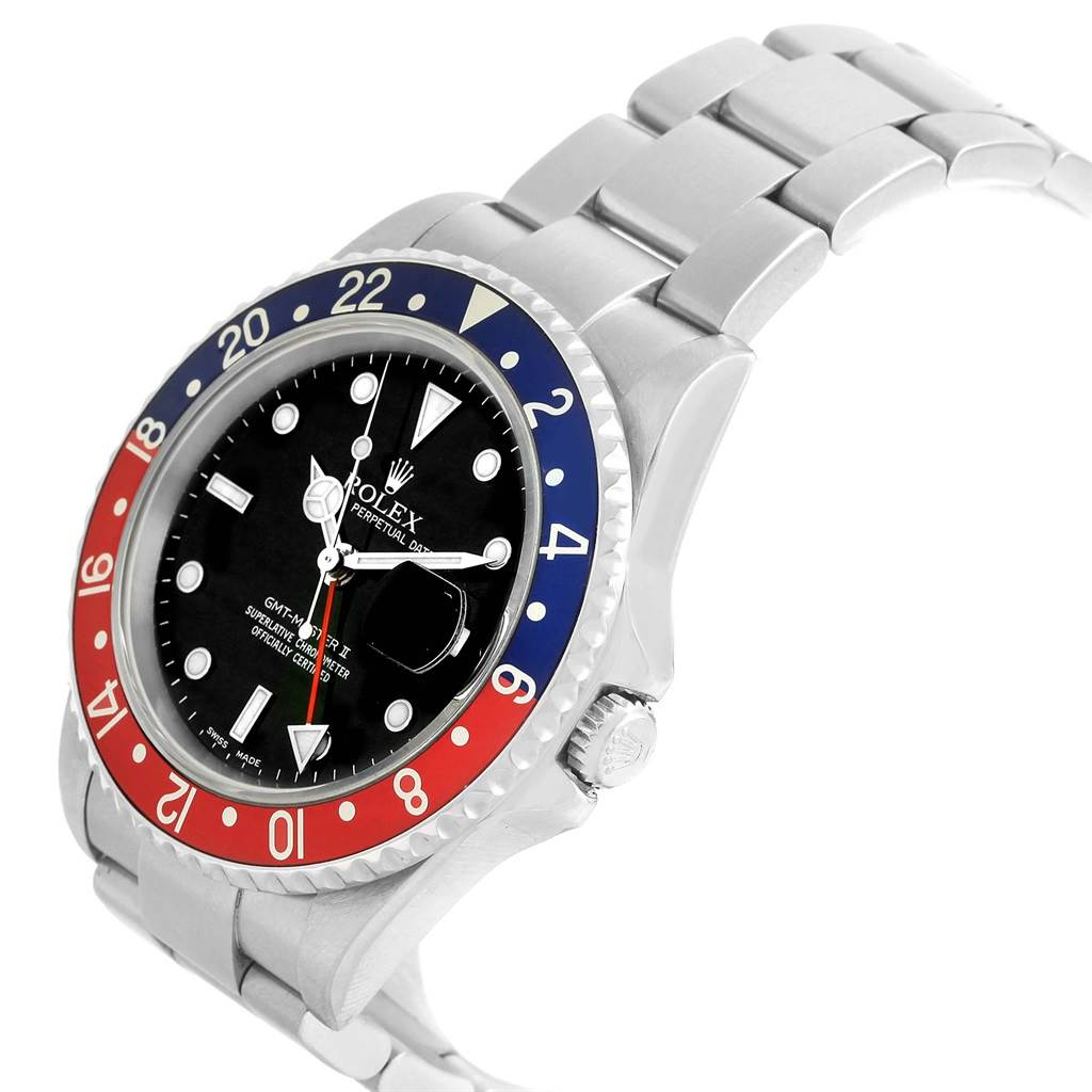 19983A Rolex GMT Master II Blue Red Pepsi Bezel Mens Watch 16710 Box Papers SwissWatchExpo