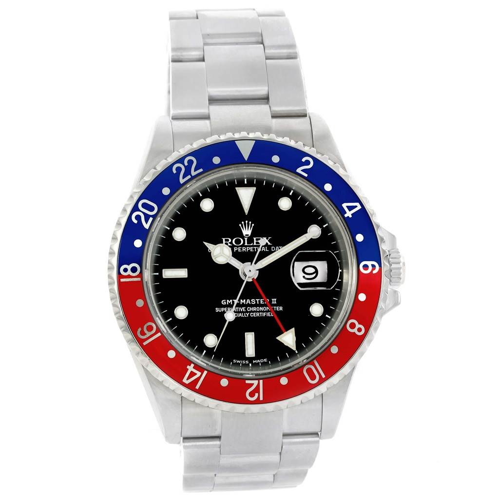 Rolex GMT Master II Blue Red Pepsi Bezel Steel Watch 16710 Box Papers SwissWatchExpo