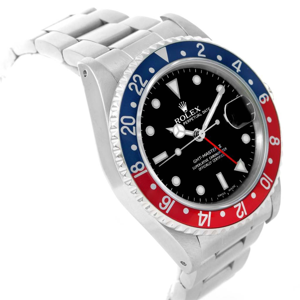 20039 Rolex GMT Master Fat Lady Vintage Pepsi Blue Red Bezel Watch 16760 SwissWatchExpo