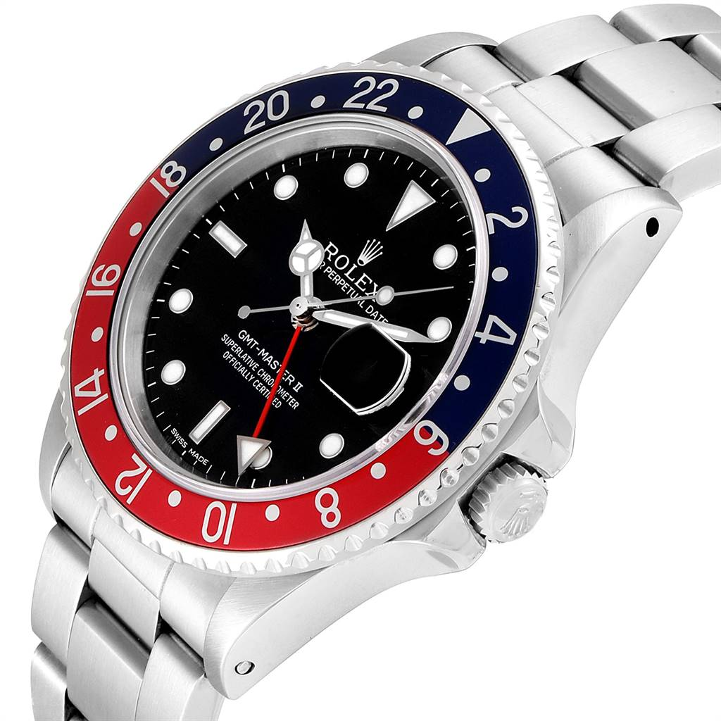Rolex GMT Master Fat Lady Vintage Pepsi Blue Red Bezel Watch 16760 SwissWatchExpo