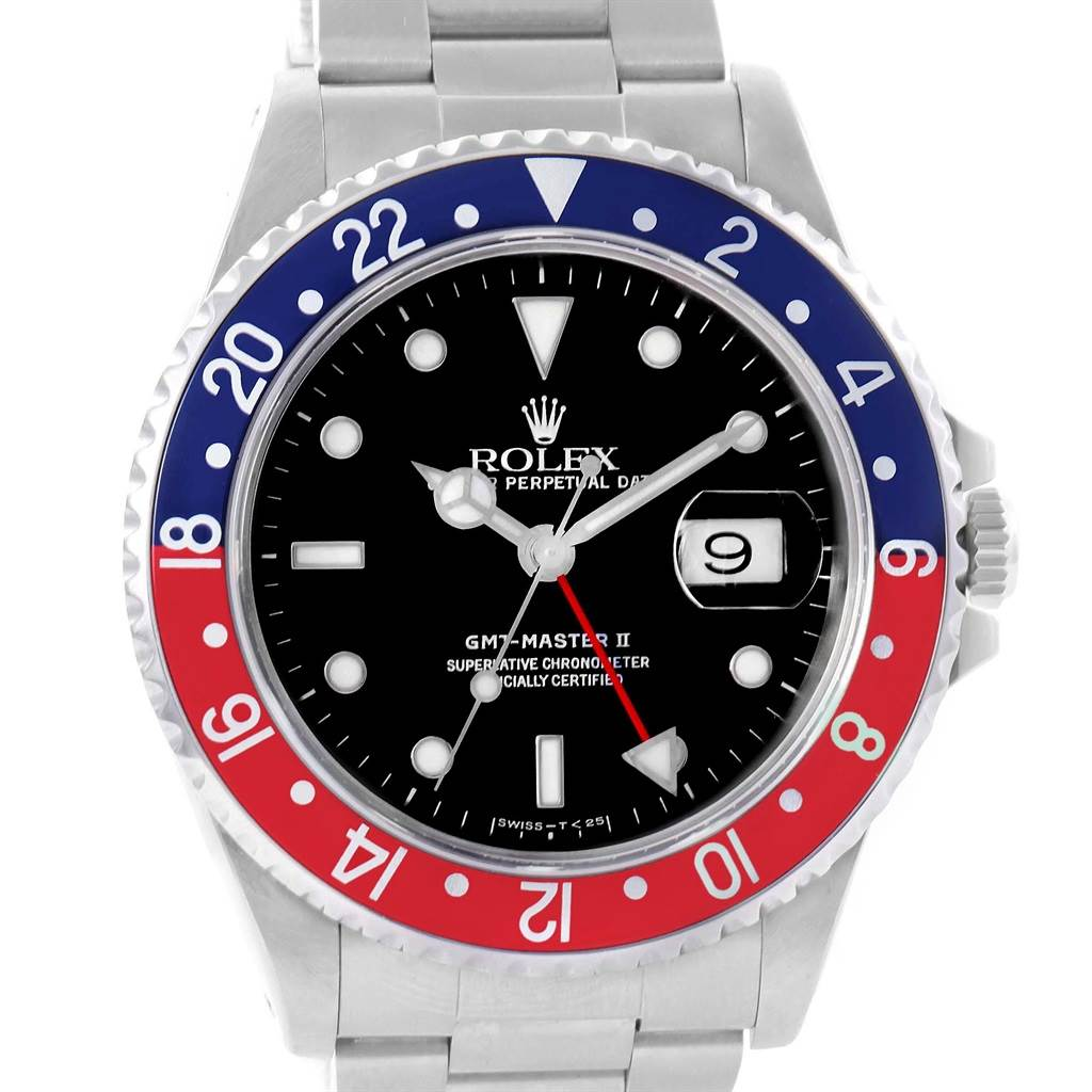 Rolex GMT Master II 40 Blue Red Pepsi Bezel Steel Watch 16710 SwissWatchExpo