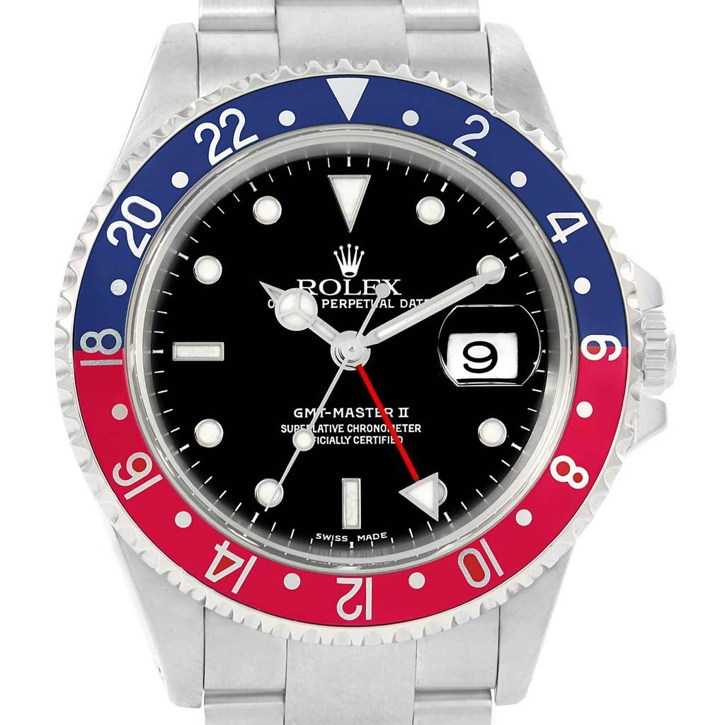 Rolex GMT Master II 40mm Blue Red Pepsi Bezel Mens Watch 16710 SwissWatchExpo