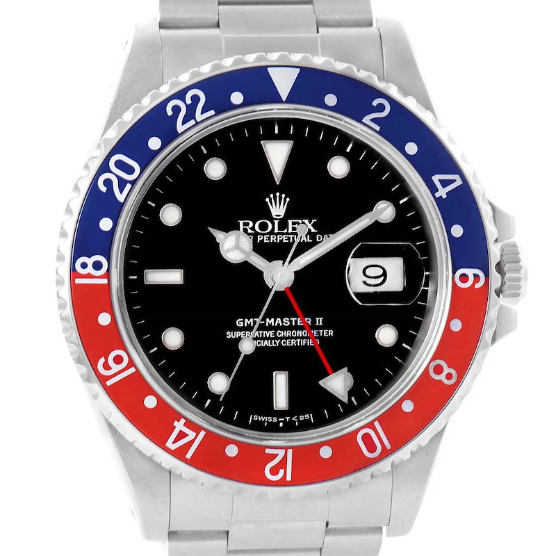 Rolex GMT Master II Blue Red Pepsi Bezel Automatic Mens Watch 16710 SwissWatchExpo