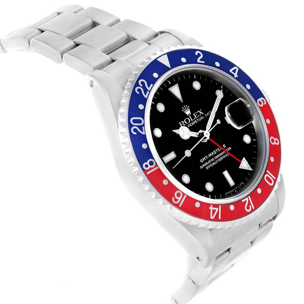 Rolex GMT Master II Blue Red Pepsi Bezel Automatic Mens Watch 16710 SwissWatchExpo