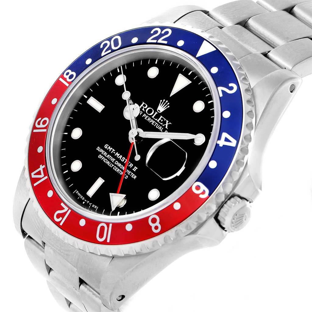 20114 Rolex GMT Master II Blue Red Pepsi Bezel Automatic Mens Watch 16710 SwissWatchExpo