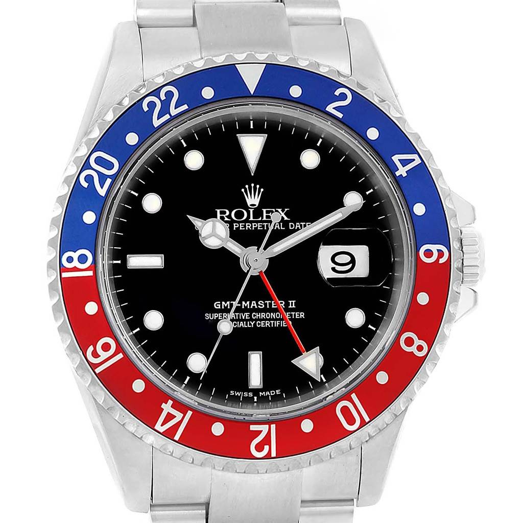 20033 Rolex GMT Master II Blue Red Pepsi Bezel Steel Watch 16710 Box Papers SwissWatchExpo