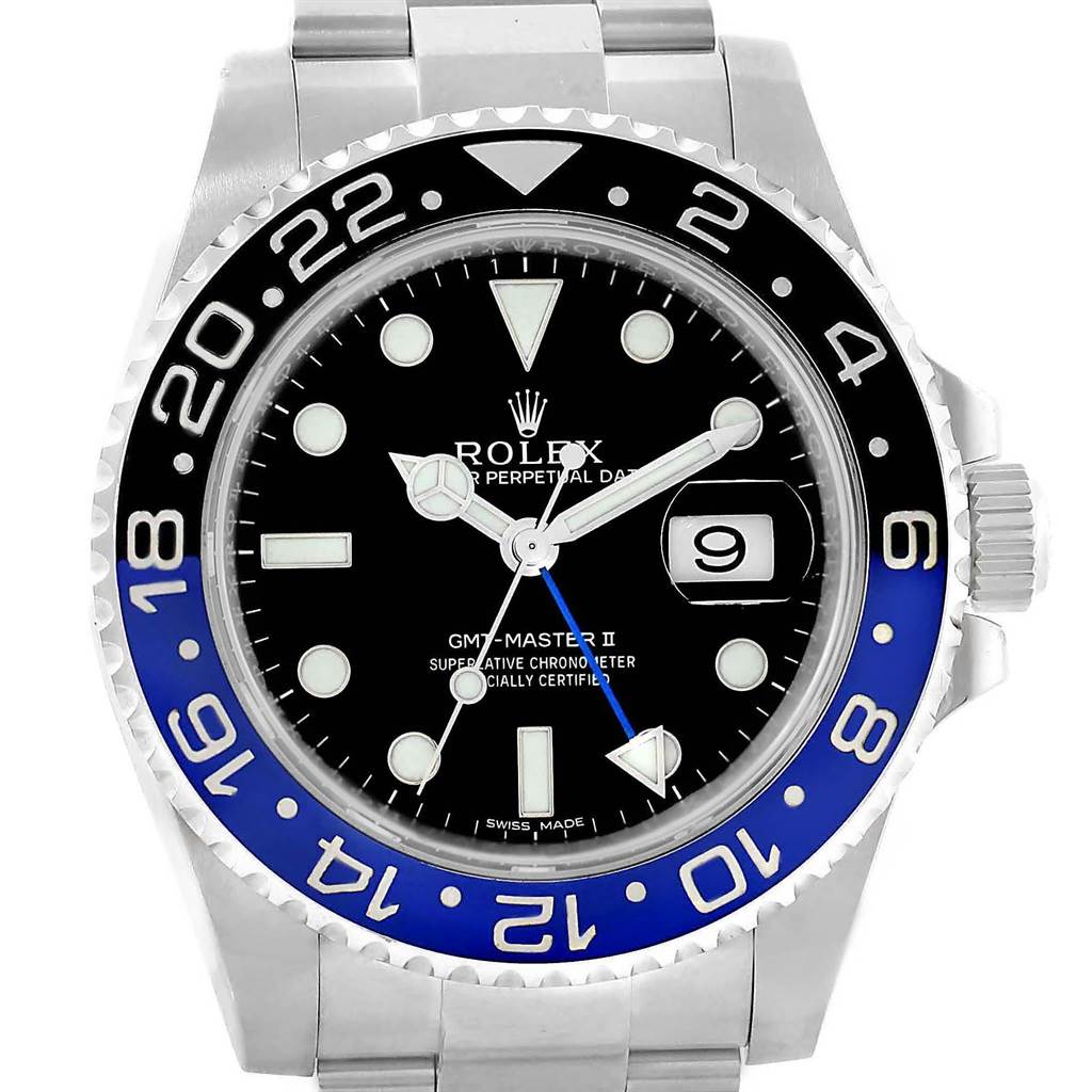 Rolex GMT Master II Batman Blue Black Bezel Steel Watch 116710