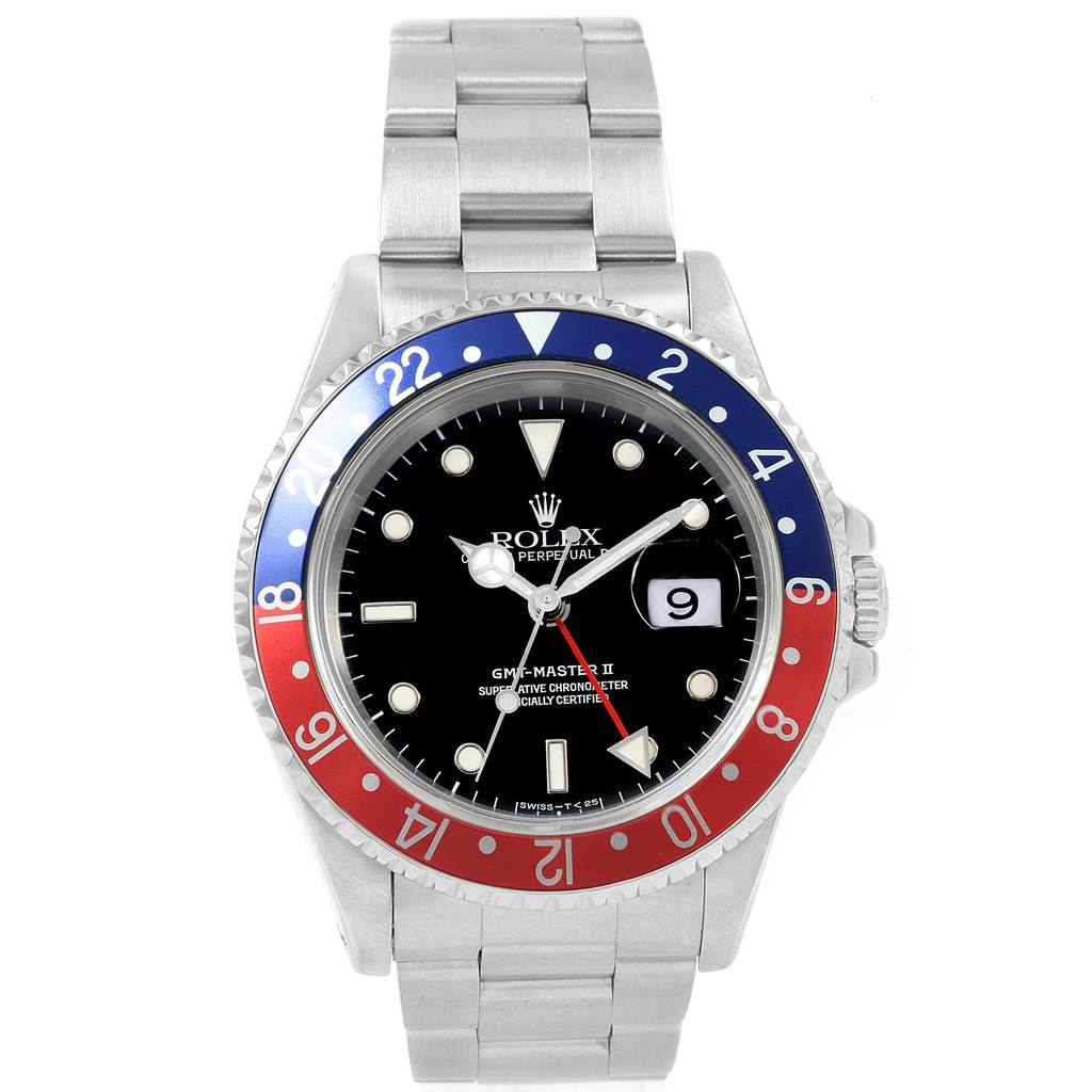 20103 Rolex GMT Master II 40mm Blue Red Pepsi Bezel Mens Watch 16710 SwissWatchExpo