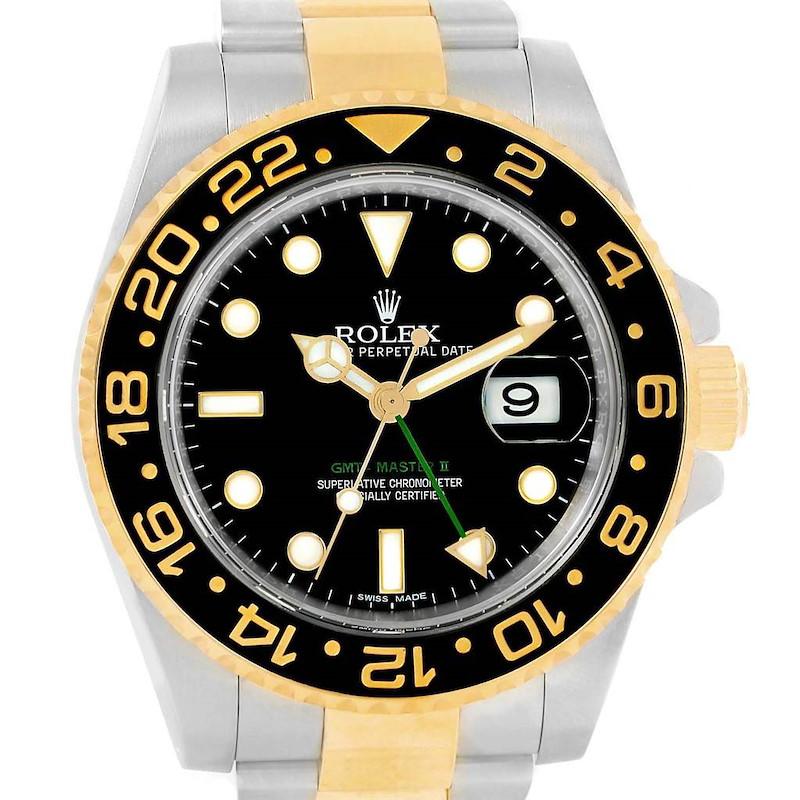Rolex GMT Master II Yellow Gold Steel Mens Watch 116713 Box Card SwissWatchExpo