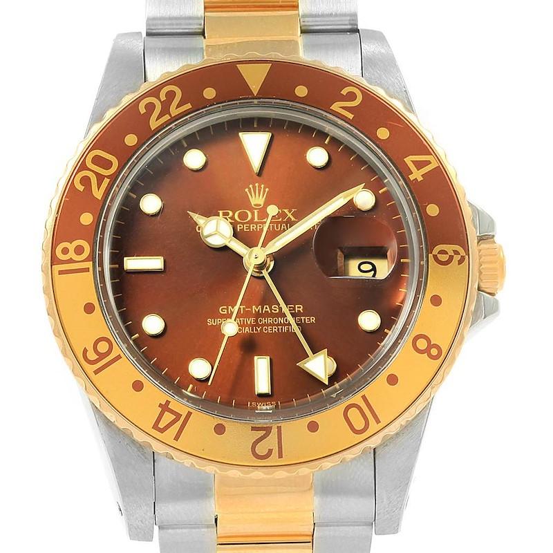 Rolex GMT Master Rootbeer Yellow Gold Steel Vintage Mens Watch 16753 SwissWatchExpo