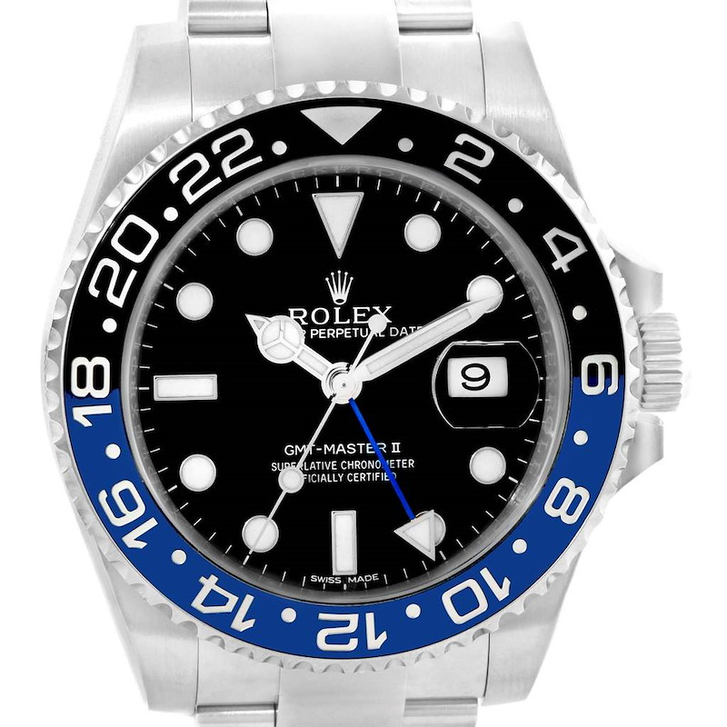 Rolex GMT Master II Batman Blue Black Bezel Steel Watch 116710 Box SwissWatchExpo