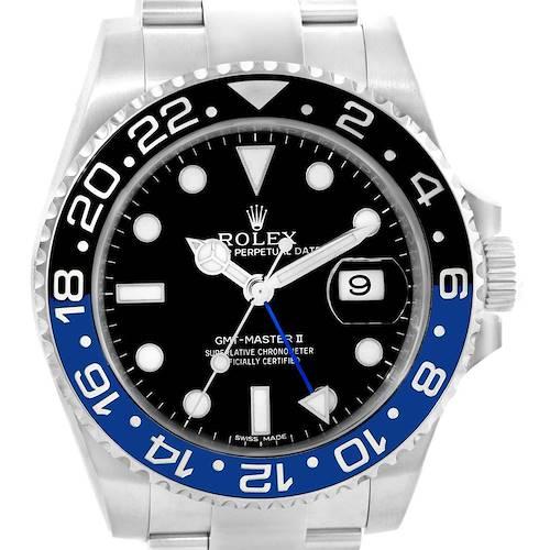 Photo of Rolex GMT Master II Batman Blue Black Bezel Steel Watch 116710 Box