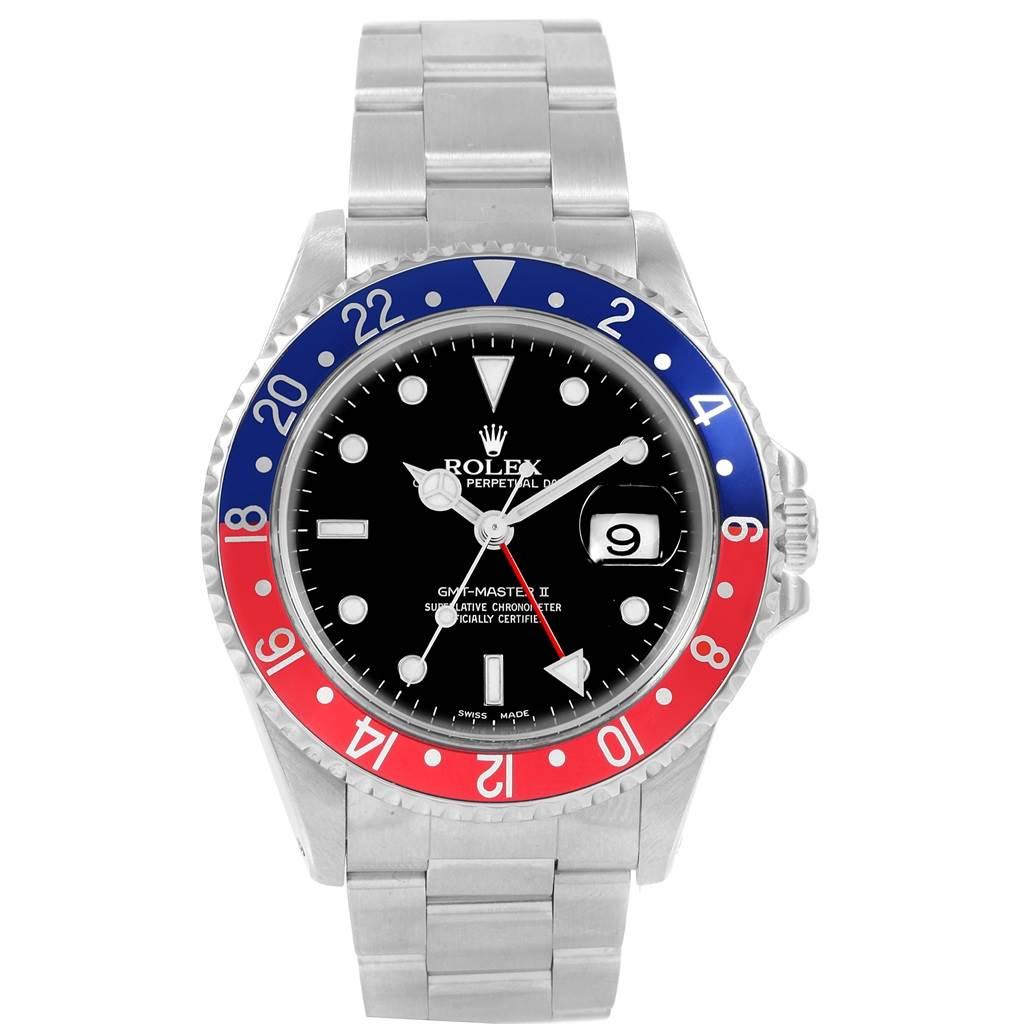 20908 Rolex GMT Master II 40mm Blue Red Pepsi Bezel Mens Watch 16710 SwissWatchExpo