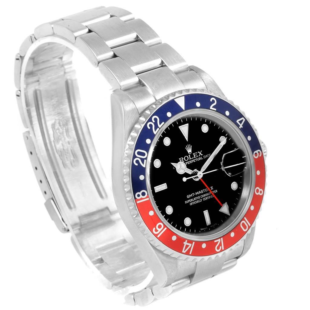 Rolex GMT Master II Blue Red Pepsi Bezel Mens Watch 16710 Box Papers SwissWatchExpo