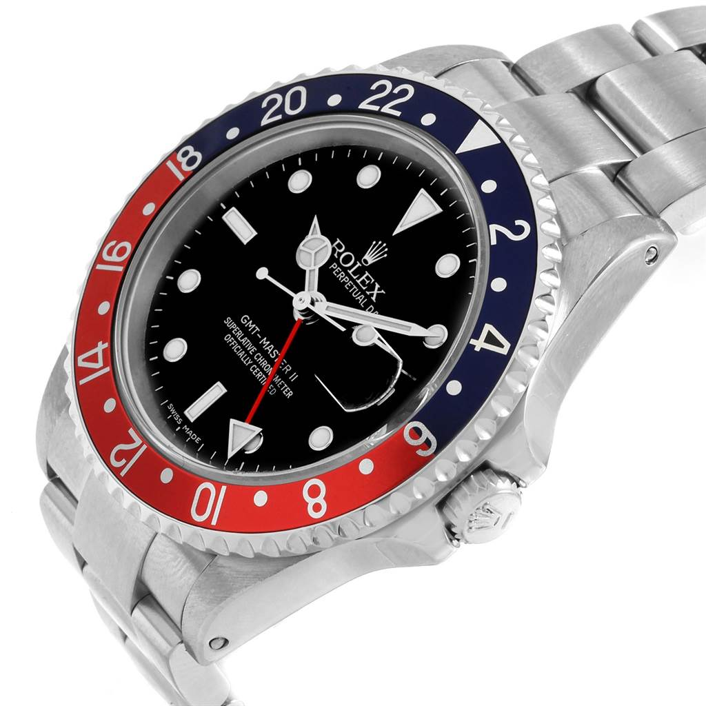 20694 Rolex GMT Master II Blue Red Pepsi Bezel Mens Watch 16710 Box Papers SwissWatchExpo