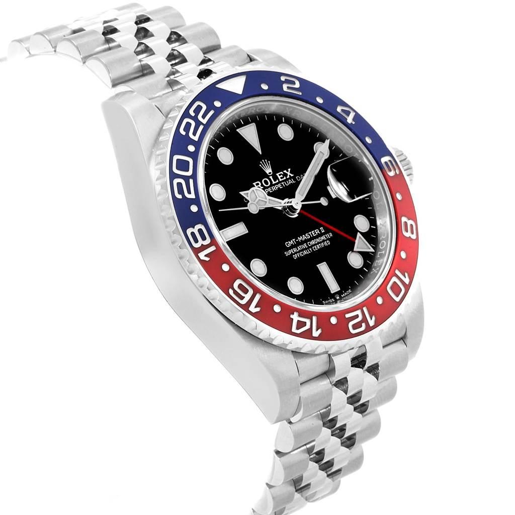 Rolex GMT Master II Pepsi Bezel Jubilee Steel Watch 126710 Unworn SwissWatchExpo