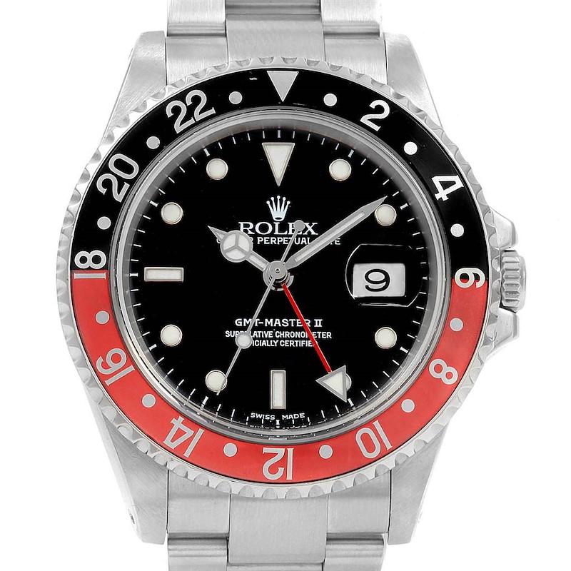 Rolex GMT Master II Black Red Coke Bezel Insert Watch 16710 Box Papers SwissWatchExpo