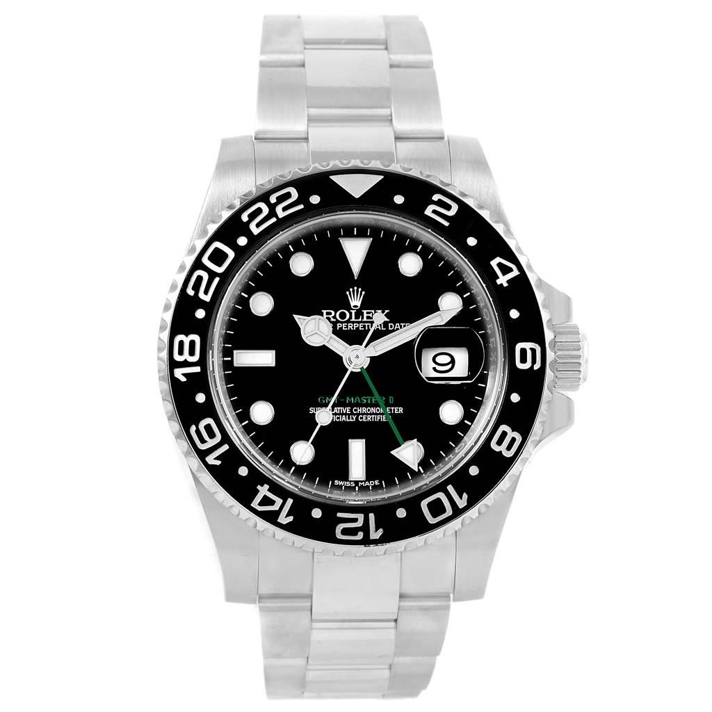 21262 Rolex GMT Master II 40mm Black Dial Green Hand Mens Watch 116710 SwissWatchExpo